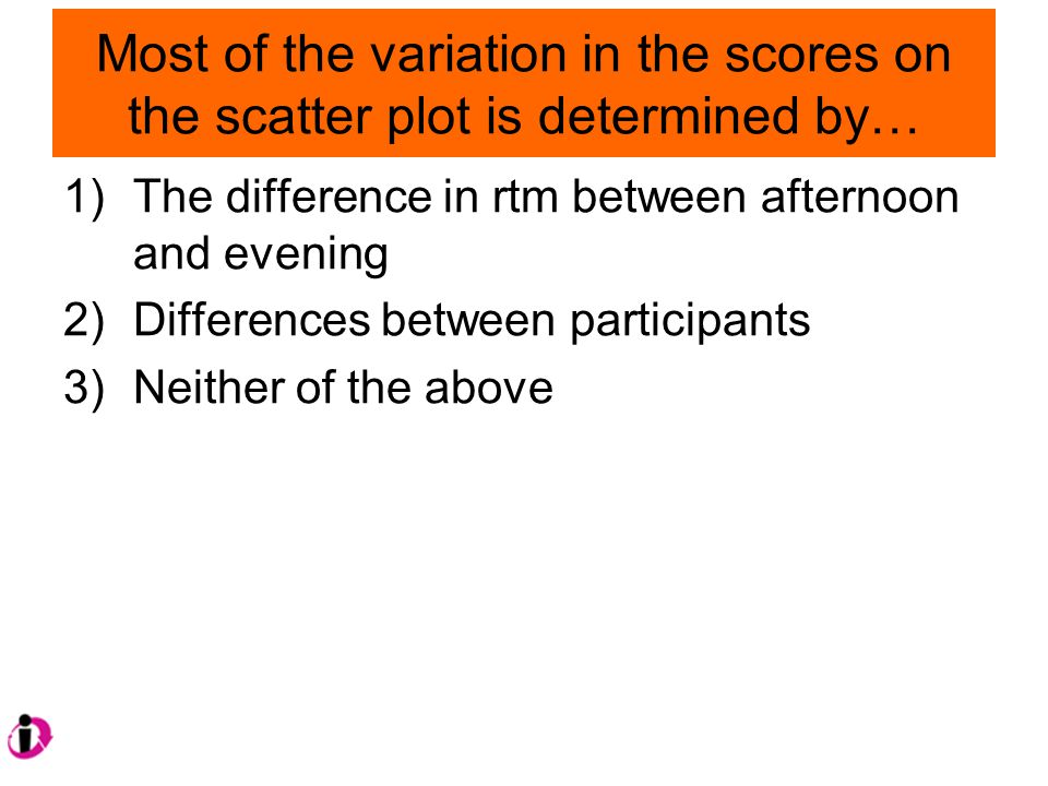 Most of the variation in the scores on the scatter plot is determined by… 1)The difference in rtm between afternoon and evening 2)Differences between participants 3)Neither of the above