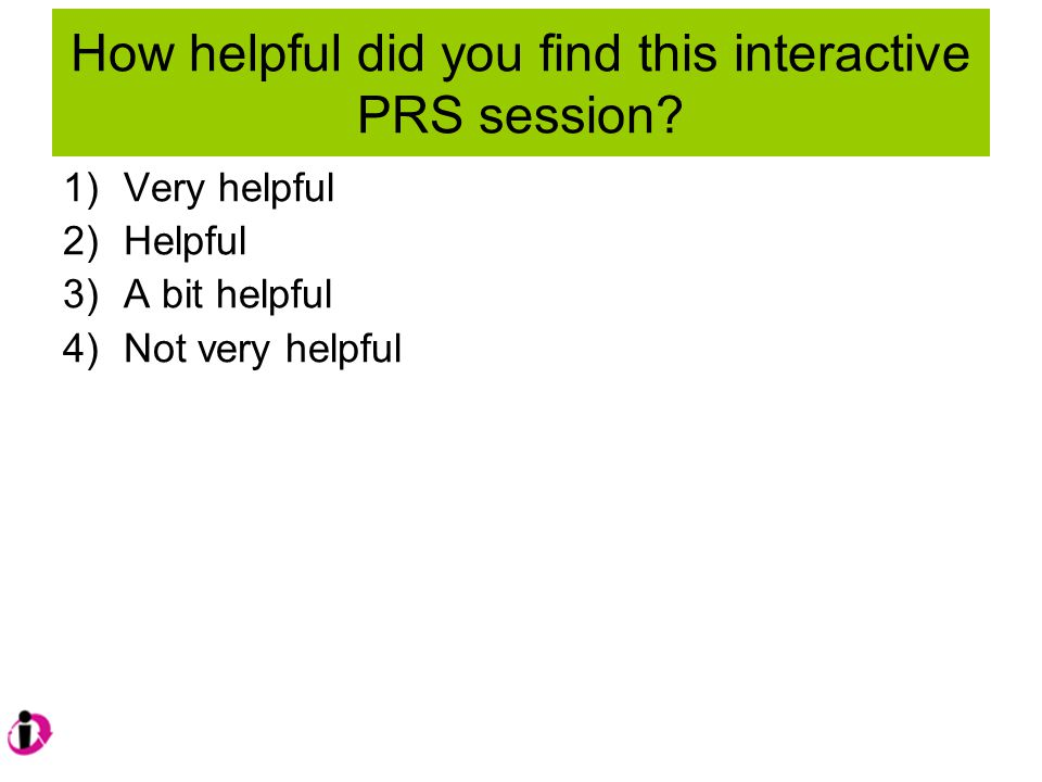 How helpful did you find this interactive PRS session.