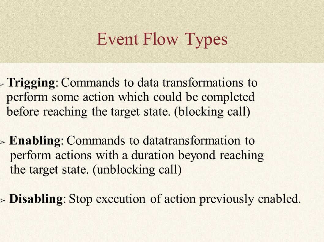 Event Flow Types ➢ Trigging: Commands to data transformations to perform some action which could be completed before reaching the target state. (block