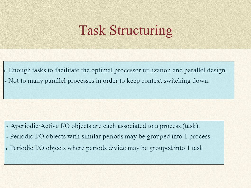 Task Structuring ➢ Enough tasks to facilitate the optimal processor utilization and parallel design. ➢ Not to many parallel processes in order to keep