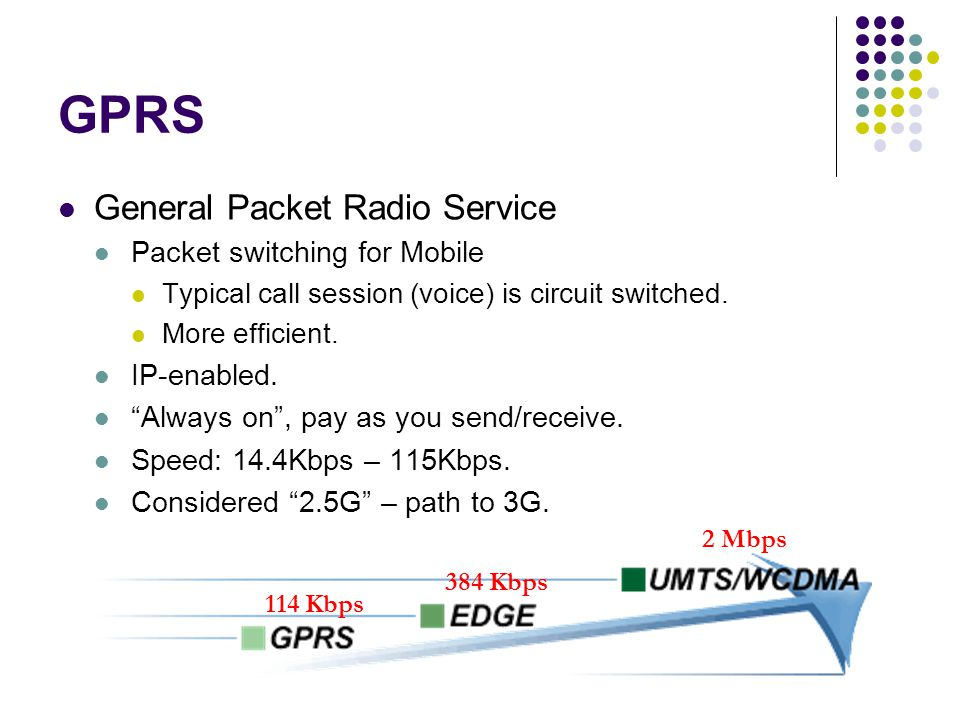 GPRS General Packet Radio Service Packet switching for Mobile Typical call session (voice) is circuit switched.