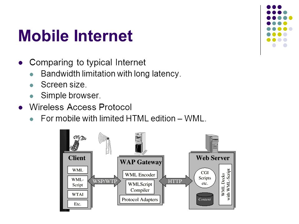 Mobile Internet Comparing to typical Internet Bandwidth limitation with long latency.