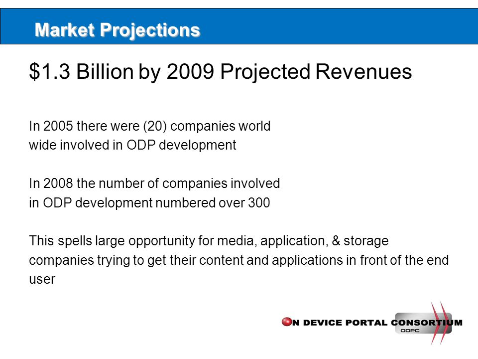 Market Projections $1.3 Billion by 2009 Projected Revenues In 2005 there were (20) companies world wide involved in ODP development In 2008 the number of companies involved in ODP development numbered over 300 This spells large opportunity for media, application, & storage companies trying to get their content and applications in front of the end user