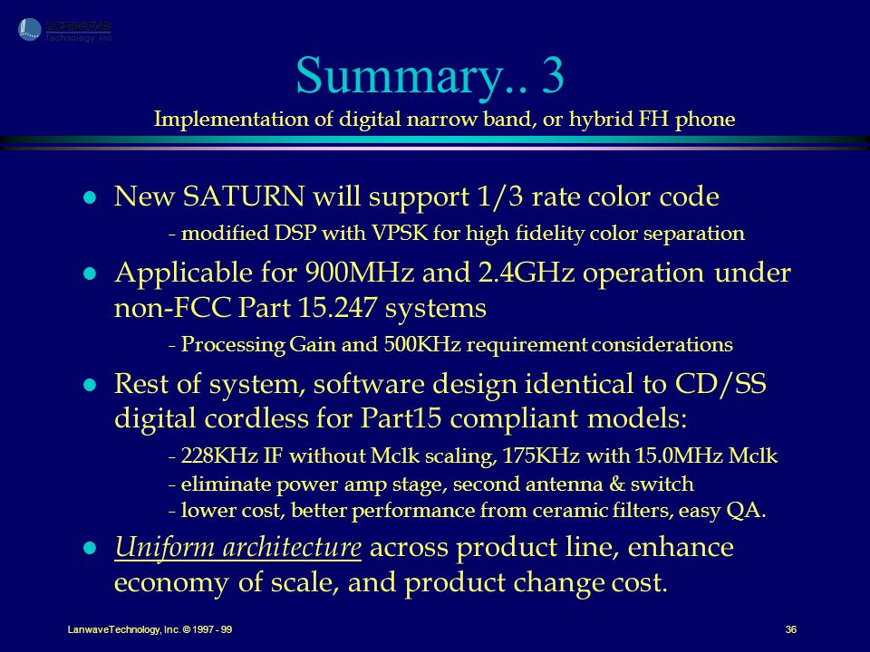 LanwaveTechnology, Inc. © 1997 - 9936 Summary..