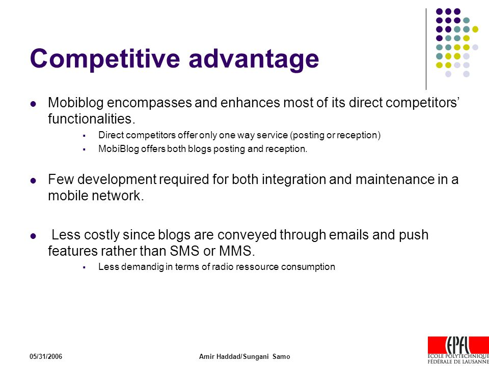 05/31/2006Amir Haddad/Sungani Samo Competitive advantage Mobiblog encompasses and enhances most of its direct competitors' functionalities.  Direct c