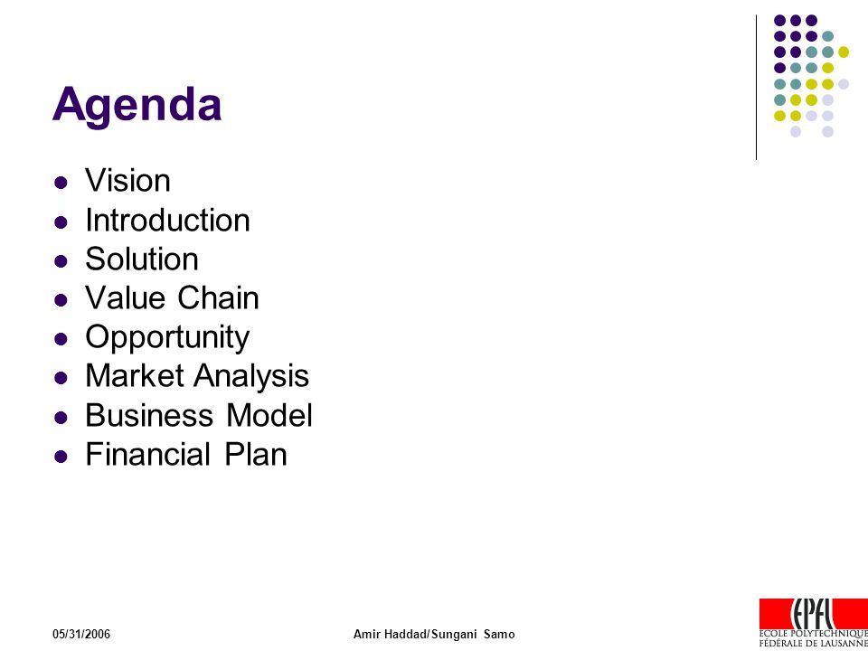 05/31/2006Amir Haddad/Sungani Samo Agenda Vision Introduction Solution Value Chain Opportunity Market Analysis Business Model Financial Plan