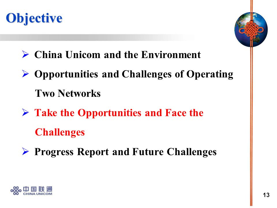 13 Objective Objective  China Unicom and the Environment  Opportunities and Challenges of Operating Two Networks  Take the Opportunities and Face the Challenges  Progress Report and Future Challenges
