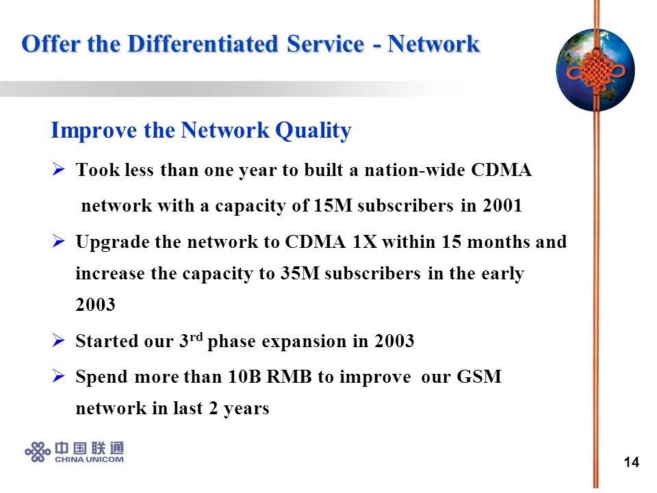 14 Offer the Differentiated Service - Network Offer the Differentiated Service - Network Improve the Network Quality  Took less than one year to built a nation-wide CDMA network with a capacity of 15M subscribers in 2001  Upgrade the network to CDMA 1X within 15 months and increase the capacity to 35M subscribers in the early 2003  Started our 3 rd phase expansion in 2003  Spend more than 10B RMB to improve our GSM network in last 2 years