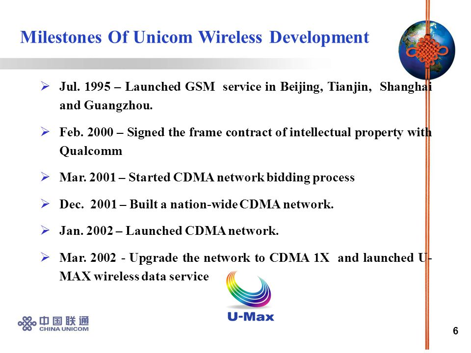 6  Jul. 1995 – Launched GSM service in Beijing, Tianjin, Shanghai and Guangzhou.