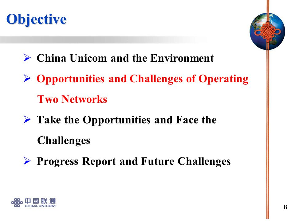 19 Objective Objective  China Unicom and the Environment  Opportunity and Challenge of Operating Two Networks  Take the Opportunity and Face the Challenge  Progress Report and Future Challenges