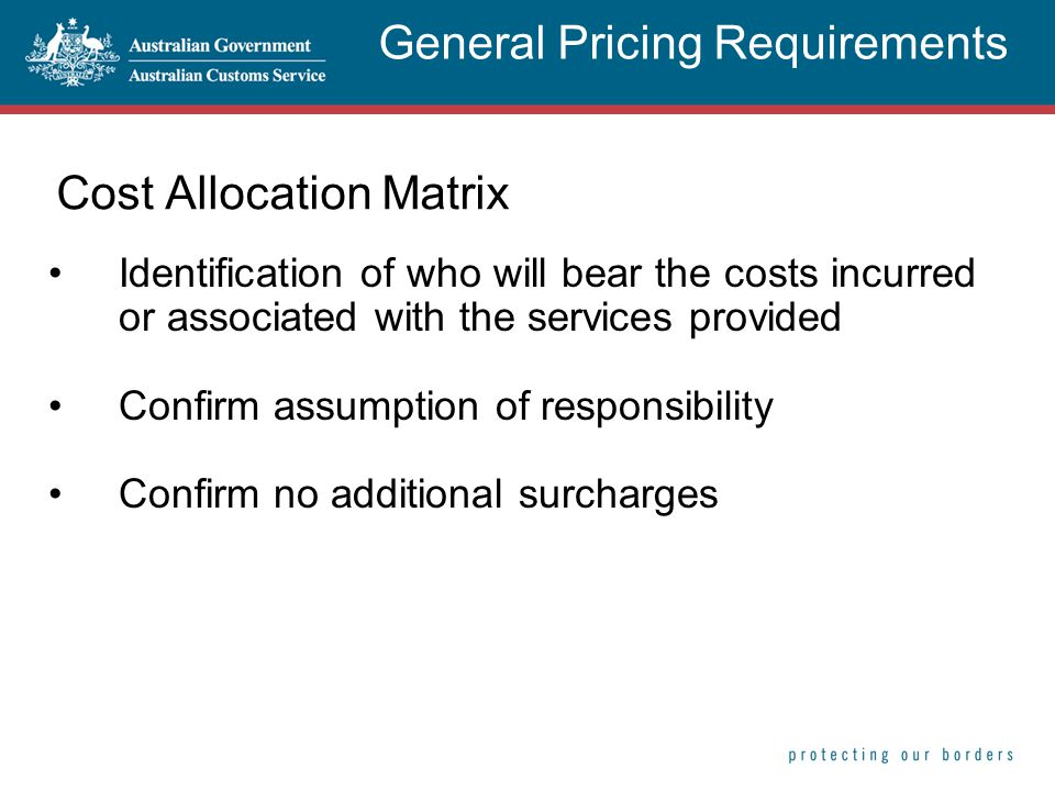 Cost Allocation Matrix Identification of who will bear the costs incurred or associated with the services provided Confirm assumption of responsibility Confirm no additional surcharges General Pricing Requirements