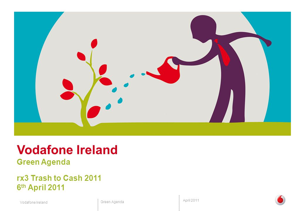 Vodafone Ireland Green Agenda April 2011 The Green Agenda 30 Reduction in C0 2 emissions by 2011 Irish national target is a 20% reduction by 2020 %