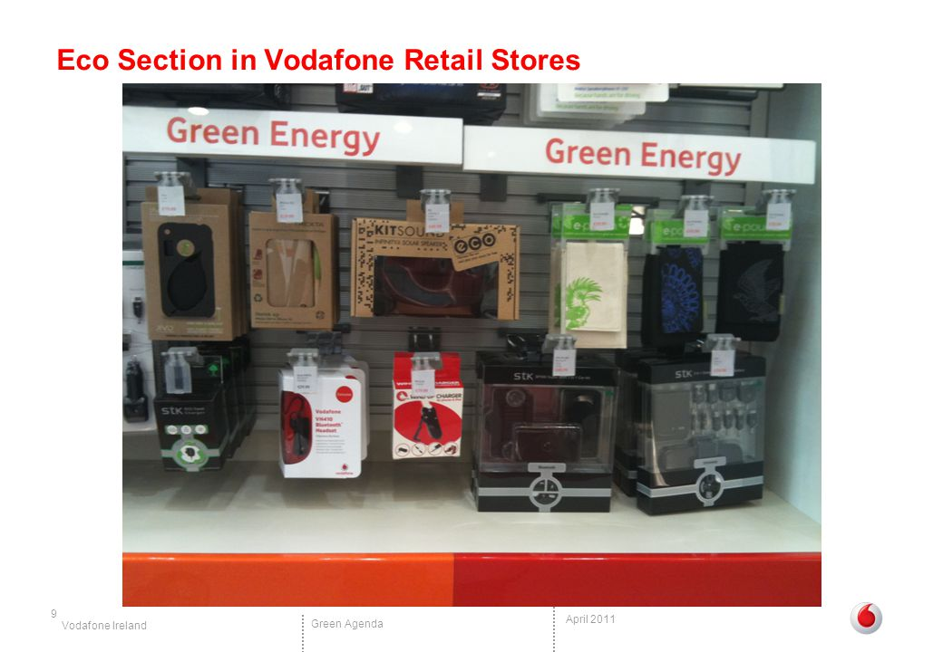 Vodafone Ireland Green Agenda April 2011 Eco Section in Vodafone Retail Stores 9