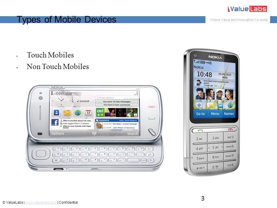Where Value and Innovation Co-exist © ValueLabs | www.valuelabs.com | Confidentialwww.valuelabs.com Types of Mobile Devices Touch Mobiles Non Touch Mobiles 3