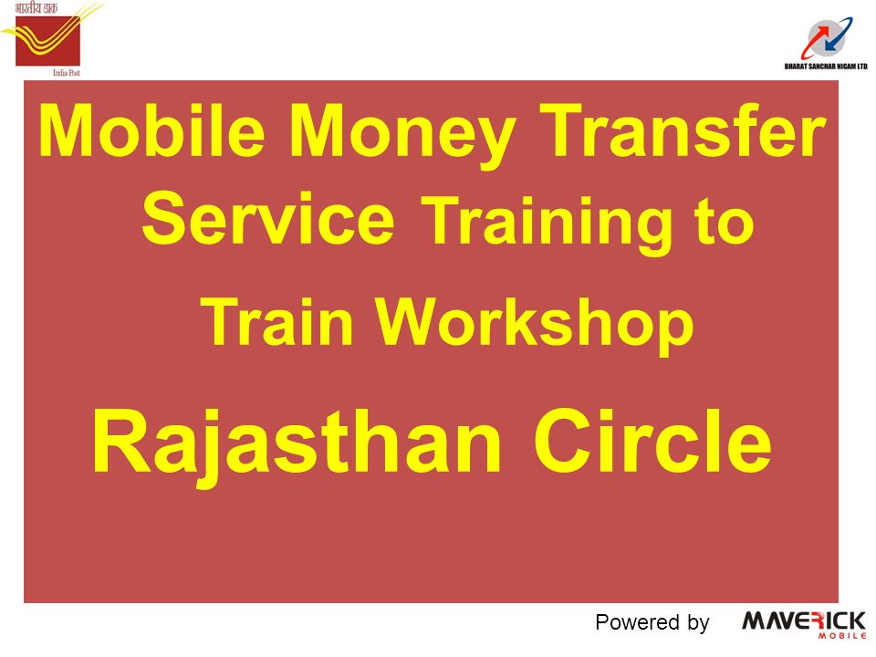 Mobile Money Transfer Service Training to Train Workshop Rajasthan Circle Powered by