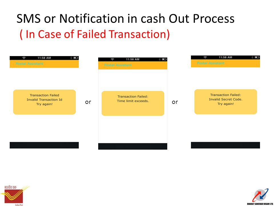 SMS or Notification in cash Out Process ( In Case of Failed Transaction) or