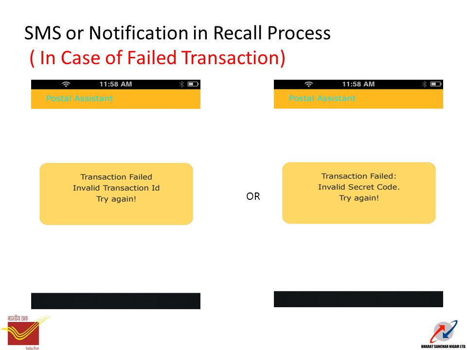 SMS or Notification in Recall Process ( In Case of Failed Transaction) OR