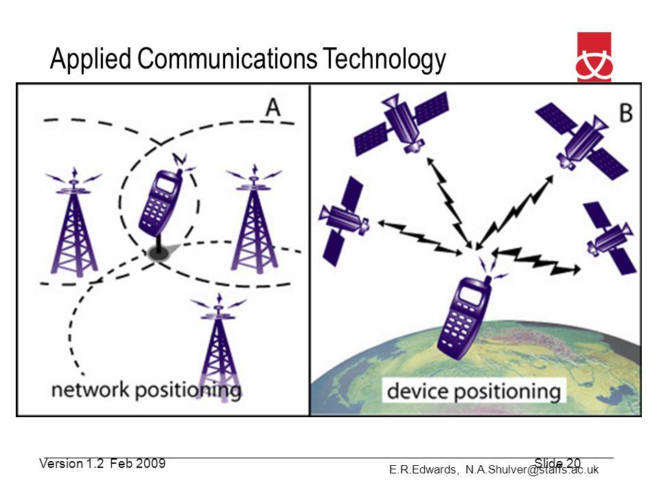 E.R.Edwards, N.A.Shulver@staffs.ac.uk Applied Communications Technology Positioning Methods Version 1.2 Feb 2009Slide 20