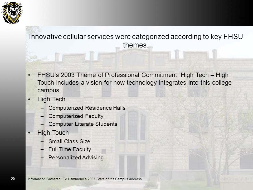 Innovative cellular services were categorized according to key FHSU themes.