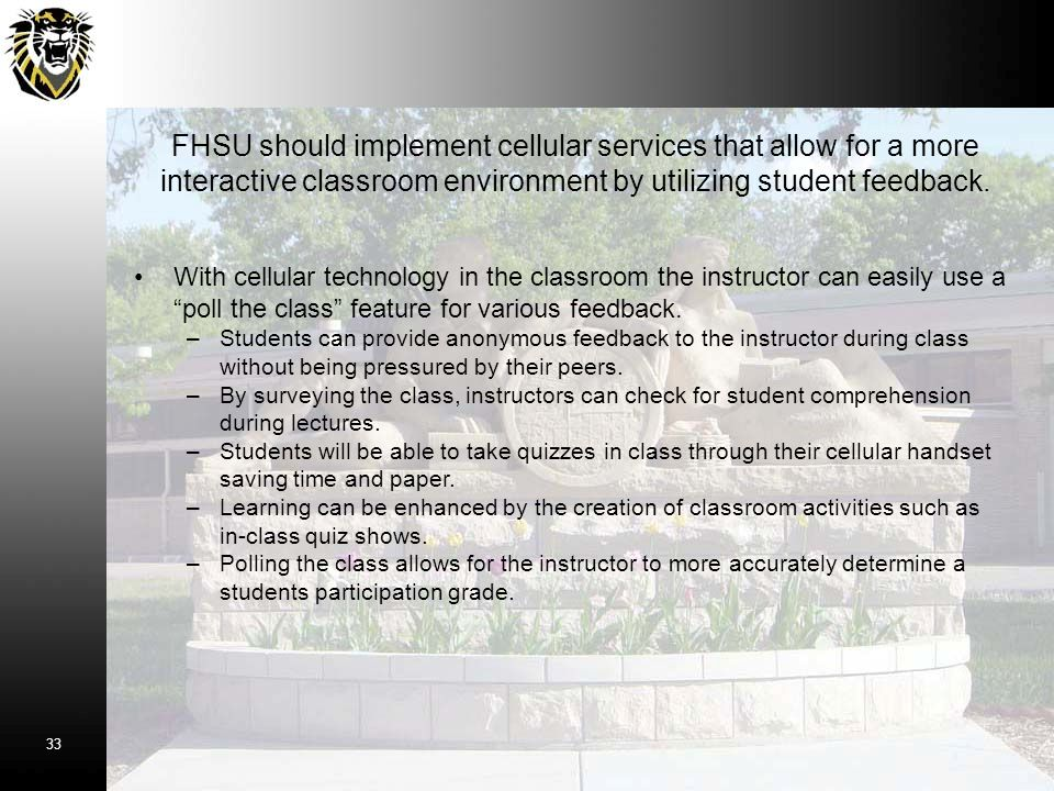 FHSU should implement cellular services that allow for a more interactive classroom environment by utilizing student feedback.