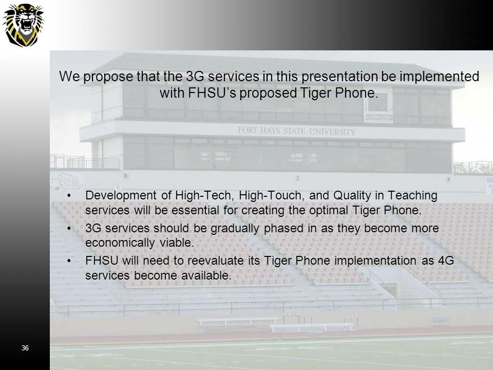 Development of High-Tech, High-Touch, and Quality in Teaching services will be essential for creating the optimal Tiger Phone. 3G services should be g