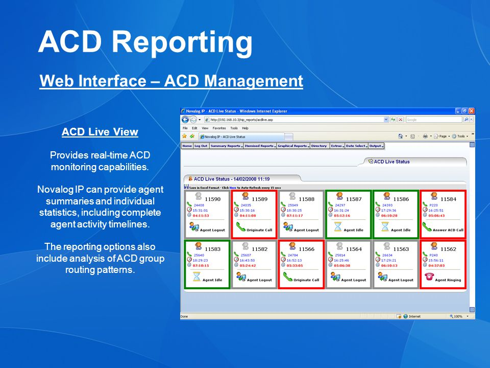 ACD Reporting Web Interface – ACD Management ACD Live View Provides real-time ACD monitoring capabilities.