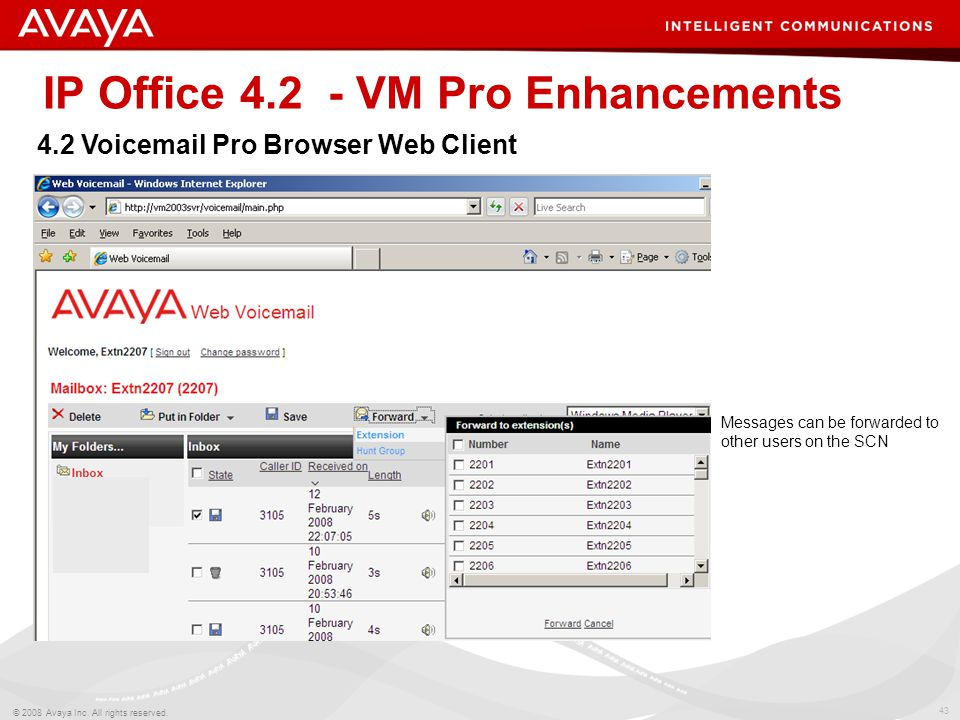 43 © 2008 Avaya Inc. All rights reserved. IP Office 4.2 - VM Pro Enhancements 4.2 Voicemail Pro Browser Web Client Messages can be forwarded to other