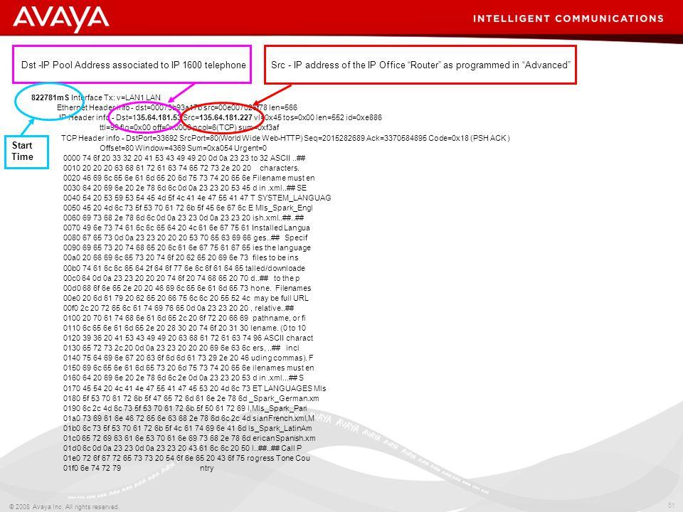 51 © 2008 Avaya Inc. All rights reserved. 822781mS Interface Tx: v=LAN1 LAN Ethernet Header info - dst=00073b93a17b src=00e007026f78 len=566 IP Header
