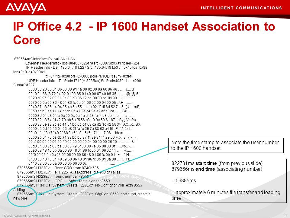 53 © 2008 Avaya Inc. All rights reserved. 879664mS Interface Rx: v=LAN1 LAN Ethernet Header info - dst=00e007026f78 src=00073b93a17b len=324 IP Header
