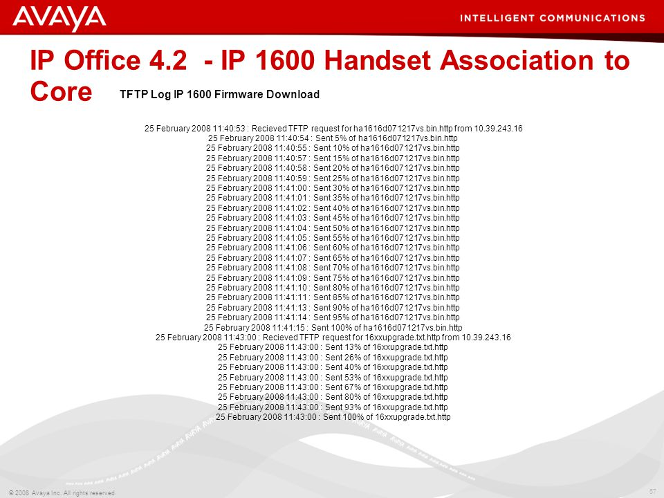 57 © 2008 Avaya Inc. All rights reserved. IP Office 4.2 - IP 1600 Handset Association to Core 25 February 2008 11:40:53 : Recieved TFTP request for ha