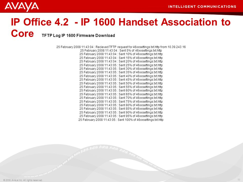 58 © 2008 Avaya Inc. All rights reserved. IP Office 4.2 - IP 1600 Handset Association to Core 25 February 2008 11:43:04 : Recieved TFTP request for 46