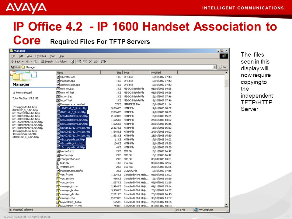 60 © 2008 Avaya Inc. All rights reserved. IP Office 4.2 - IP 1600 Handset Association to Core Required Files For TFTP Servers The files seen in this d