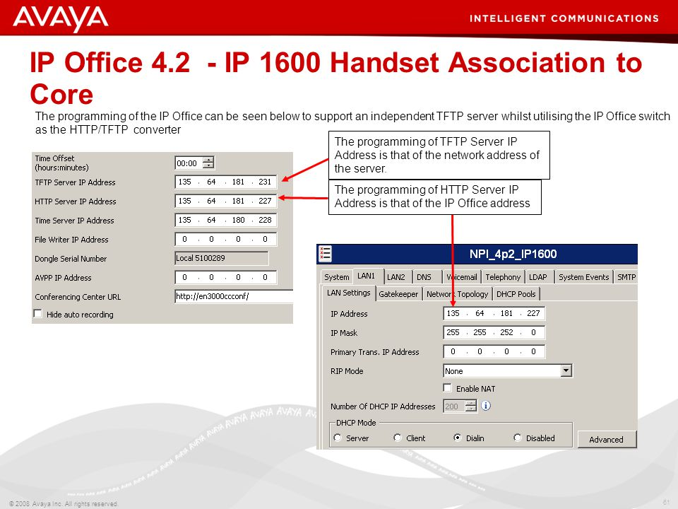 61 © 2008 Avaya Inc. All rights reserved. IP Office 4.2 - IP 1600 Handset Association to Core The programming of TFTP Server IP Address is that of the