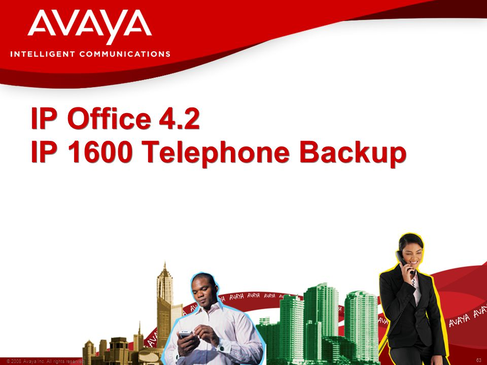 63 © 2008 Avaya Inc. All rights reserved. IP Office 4.2 IP 1600 Telephone Backup