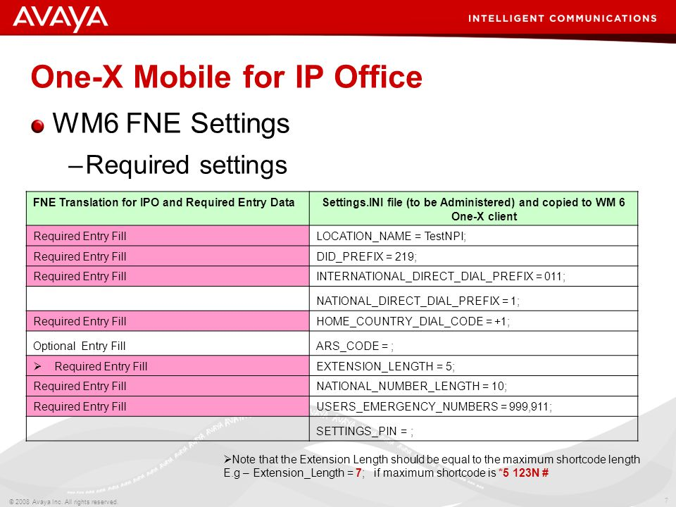 7 © 2008 Avaya Inc. All rights reserved. One-X Mobile for IP Office WM6 FNE Settings –Required settings FNE Translation for IPO and Required Entry Dat