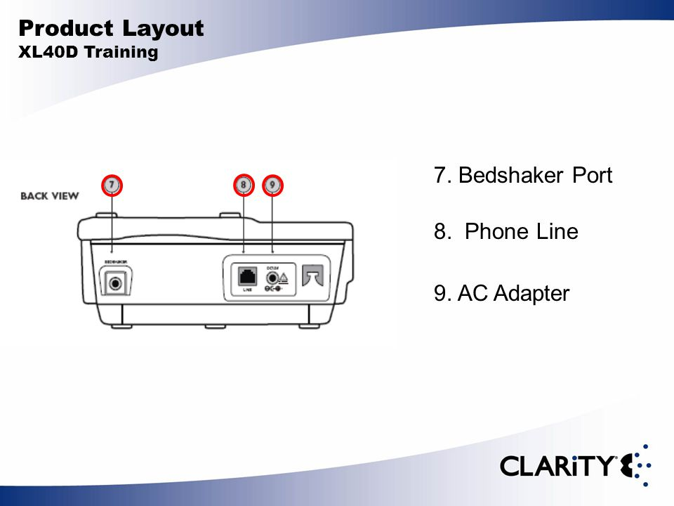 Product Layout XL40D Training 7. Bedshaker Port 8. Phone Line 9. AC Adapter