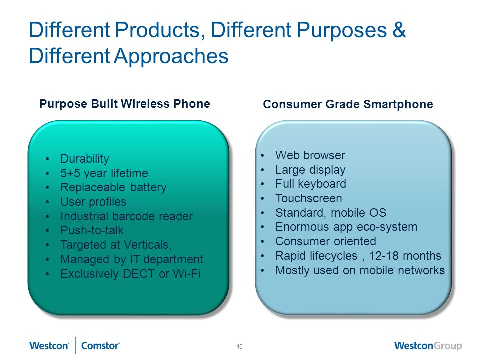 16 Different Products, Different Purposes & Different Approaches Purpose Built Wireless Phone Consumer Grade Smartphone Durability 5+5 year lifetime Replaceable battery User profiles Industrial barcode reader Push-to-talk Targeted at Verticals, Managed by IT department Exclusively DECT or Wi-Fi Web browser Large display Full keyboard Touchscreen Standard, mobile OS Enormous app eco-system Consumer oriented Rapid lifecycles, 12-18 months Mostly used on mobile networks