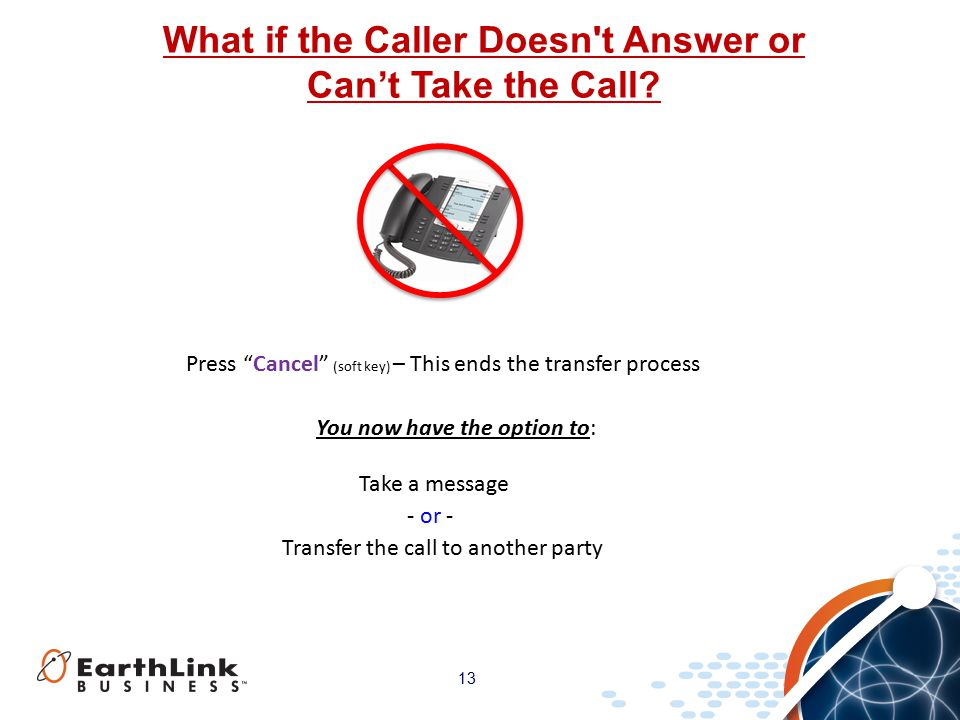 13 What if the Caller Doesn t Answer or Can't Take the Call.
