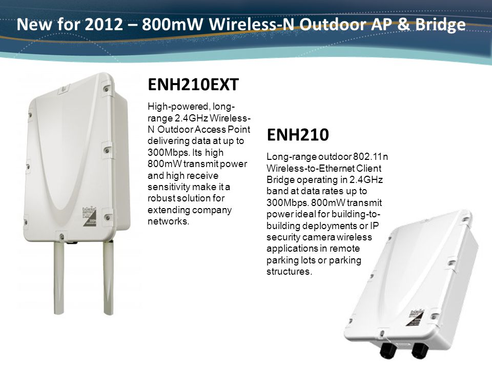 High-powered, long- range 2.4GHz Wireless- N Outdoor Access Point delivering data at up to 300Mbps. Its high 800mW transmit power and high receive sen