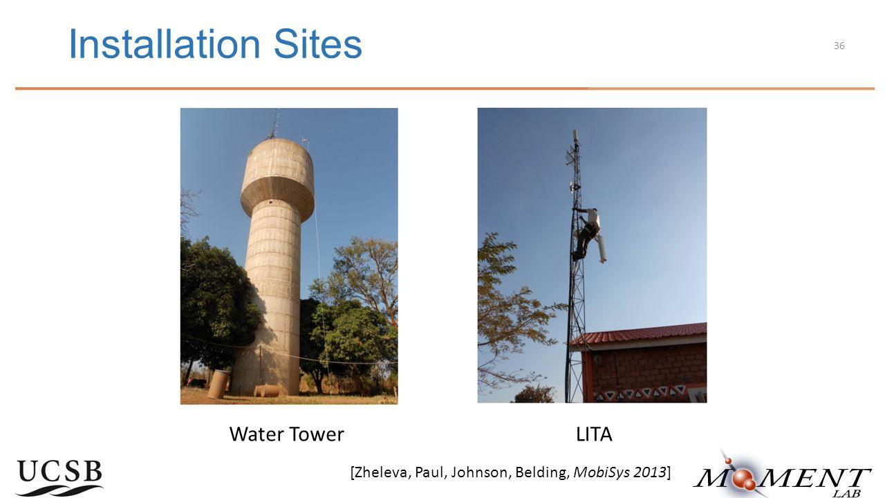 Installation Sites LITAWater Tower [Zheleva, Paul, Johnson, Belding, MobiSys 2013] 36