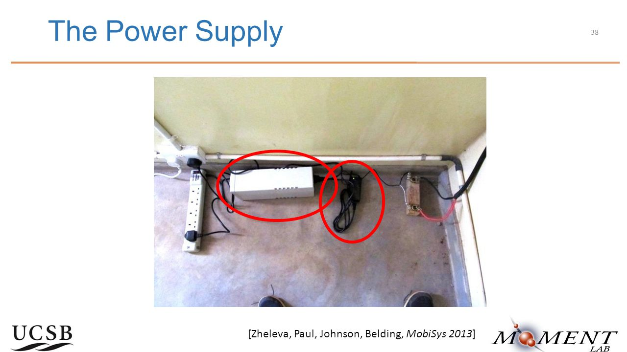 The Power Supply [Zheleva, Paul, Johnson, Belding, MobiSys 2013] 38