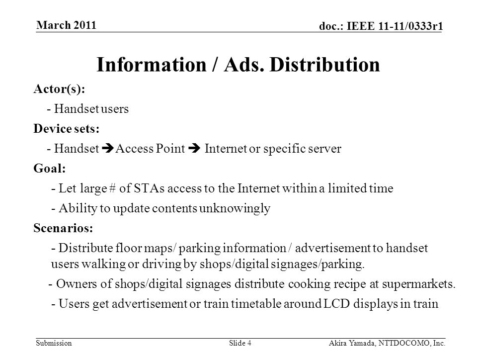 Submission doc.: IEEE 11-11/0333r1 Information / Ads. Distribution Actor(s): - Handset users Device sets: - Handset  Access Point  Internet or speci