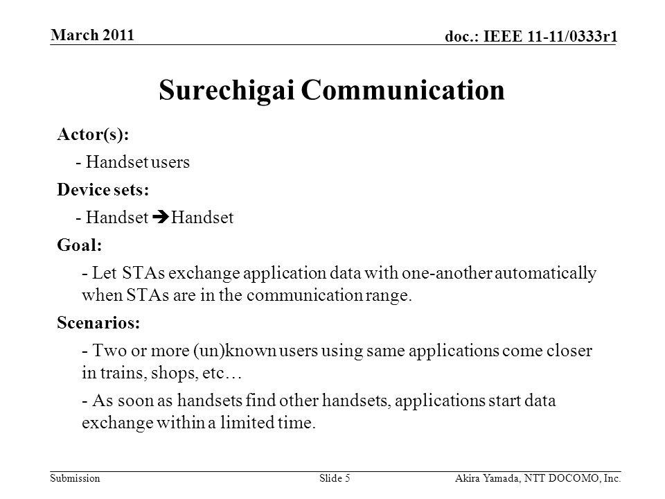 Submission doc.: IEEE 11-11/0333r1 Surechigai Communication Actor(s): - Handset users Device sets: - Handset  Handset Goal: - Let STAs exchange appli
