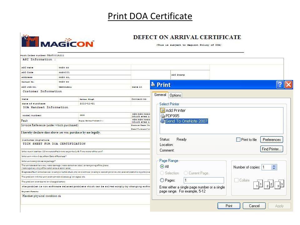 Print DOA Certificate