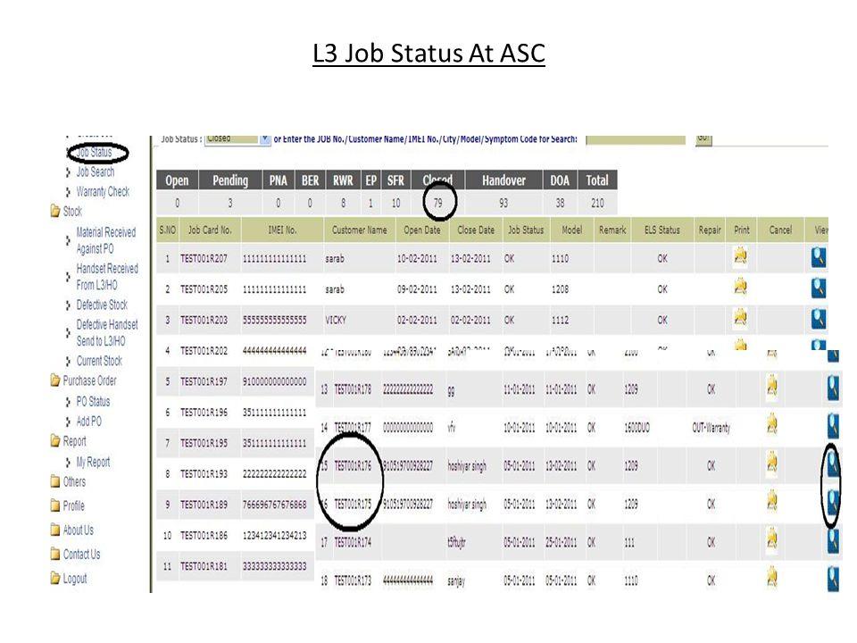 L3 Job Status At ASC