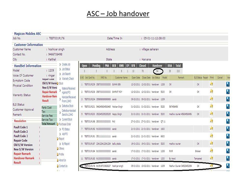 ASC – Job handover