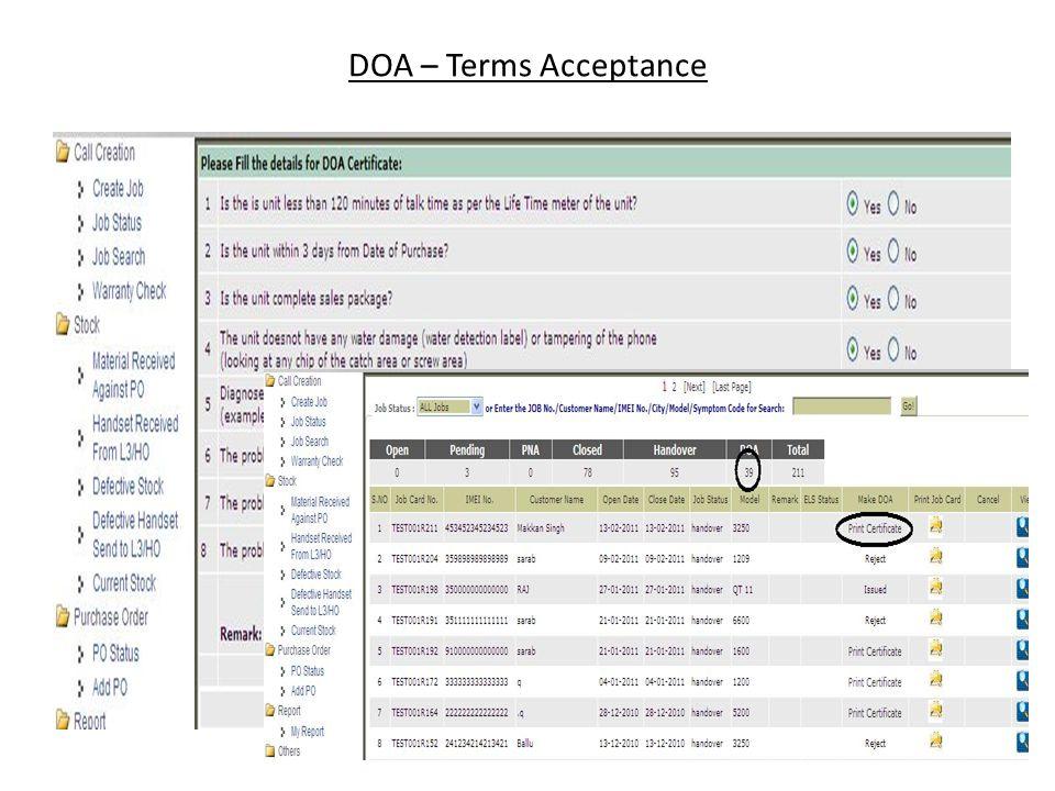 DOA – Terms Acceptance