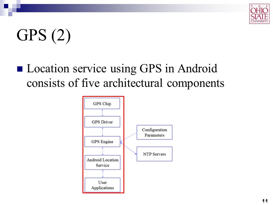 GPS (2) Location service using GPS in Android consists of five architectural components 11
