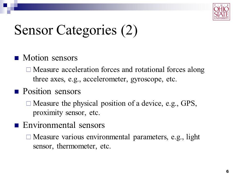 Sensor List 7 SensorFunction TypeSoftware-based or Hardware-based AccelerometerMotion SensorHardware-based GyroscopeMotion SensorHardware-based GravityMotion SensorSoftware-based Rotation VectorMotion SensorSoftware-based Magnetic FieldPosition SensorHardware-based ProximityPosition SensorHardware-based GPSPosition SensorHardware-based OrientationPosition SensorSoftware-based LightEnvironmental SensorHardware-based ThermometerEnvironmental SensorHardware-based BarometerEnvironmental SensorHardware-based HumidityEnvironmental SensorHardware-based