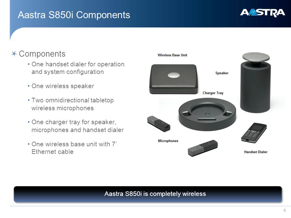 6 Aastra S850i Components Aastra S850i is completely wireless Components One handset dialer for operation and system configuration One wireless speaker Two omnidirectional tabletop wireless microphones One charger tray for speaker, microphones and handset dialer One wireless base unit with 7' Ethernet cable